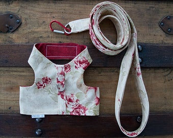 Medium Harness and Leash With Roses