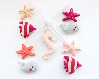READY TO SHIP - Marine Mobile,Baby Mobile, Mobile, Nursery Mobile, Nursery Decor, Felt Mobile, Pink and Grey Mobile, Crib Mobile