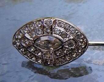 Vintage Kenneth Lane Art Deco Silver Tone Faux Diamond Lapel Pin / Hat Pin / Stick Pin