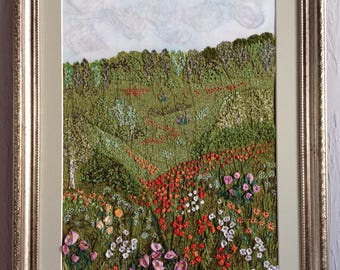 Summer landscape, embroidered, silk painting