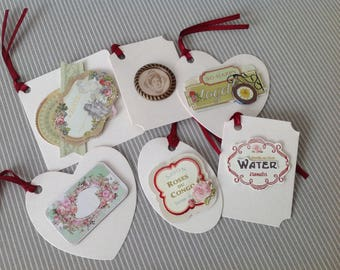 Set of 6 labels tags Victorian style. Set of 45.