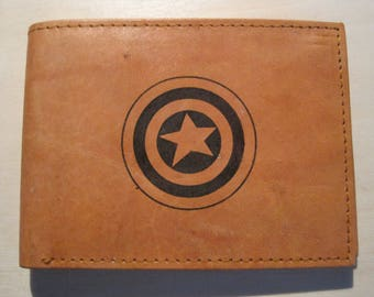 """Mankind Wallets Men's Leather RFID Blocking Billfold w/ """"Captain America's Shield"""" Image~Makes a Great Gift!"""