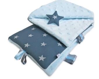 Blue baby blanket large stars