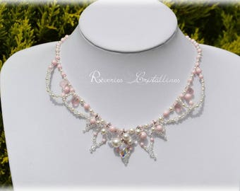 White rose bridal necklace and silver - pearl beads and Swarovski crystals - wedding, pink and silver bridal necklace jewelry