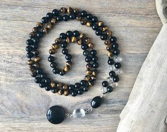Tiger Eye Mala Beads, 108 Onyx Mala Necklace, Yoga Necklace, Boho Jewelry, Mens Mala Necklace, Meditation Gifts for Him, Japa Mala