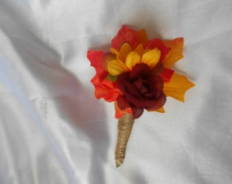 Fall Boutonniers set of 6 made of berries, fall leaf and flowers with burlap wrap stem