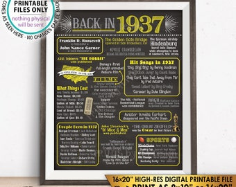 "1937 Flashback Poster, Flashback to 1937 USA History Back in 1937 Birthday Party, Yellow & Gray, Chalkboard Style PRINTABLE 16x20"" Sign <ID>"