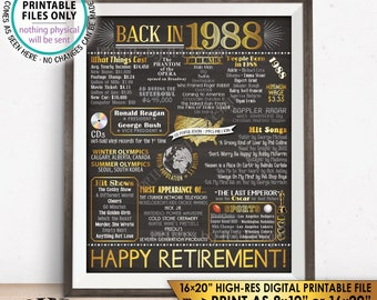 "Retirement Party Decorations, Back in 1988 Poster, Flashback to 1988 Retirement Party Decor, Chalkboard Style PRINTABLE 16x20"" Sign <ID>"