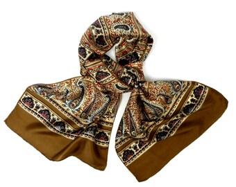 vintage silk scarf, Echo silk scarf, printed silk scarf, paisley design, long silk scarf
