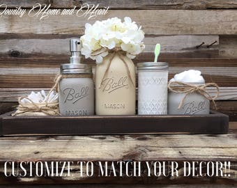 Country Bathroom Decor Mason Jar Set Rustic Chic