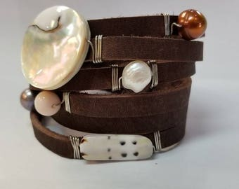 Leather Wrap Pearl and Peruvian opal and Chambered Nautilus.