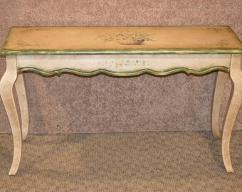 Hand Painted & Distressed Venetian Style Console Table