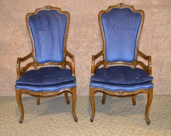 Pair of Vintage Carved Walnut Hollywood Regency Style Arm Chairs
