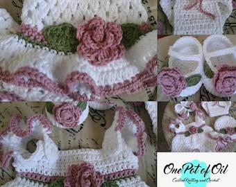 Victorian Rose Dress Set 0-3 month size