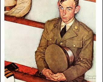 "Norman Rockwell paint Willie Gillis in Church for a Post cover in 1942. The page is approx. 11.5"" wide and 15"" tall."