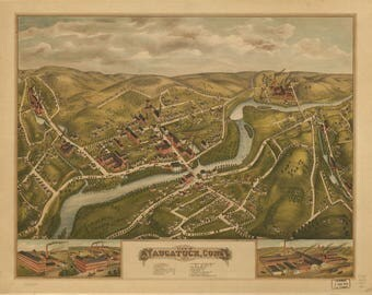 Naugatuck Conn, Panoramic Map dated 1877. This print is a wonderful wall decoration for Den, Office, Man Cave or any wall.