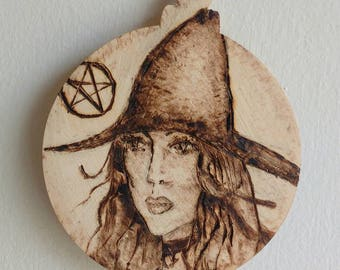 Wood Burnt wall plaque- The Witch and Pentagram