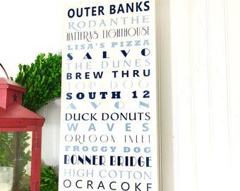 Beach Sign - Beach Decor - Personalized Beach Sign - Outer Banks Art - Beach House Decor - Beach House Art - Beach Wall Art-Beach Subway Art
