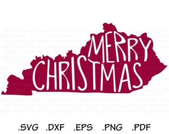 Merry Christmas Kentucky SVG, Southern SVG, State SVG, Kentucky Home, Christmas Clipart, Cricut Design Space, Silhouette Cameo - CA469