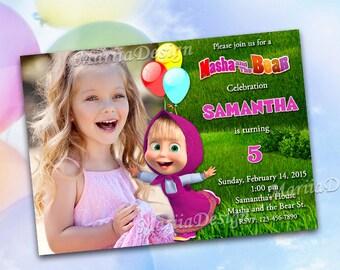 Masha and the Bear Invitations, Masha and the Bear Birthday Invitation, Masha and the bear party supplies, Masha Invitation - ONLY FILE