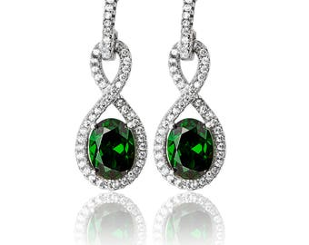 INFINITY Shape CZ & Drops  925 Sterling Silver Fancy Earring -Available: in Emerald -Ruby -Sapphire - Ideal Gift For Birthday  Her Mom