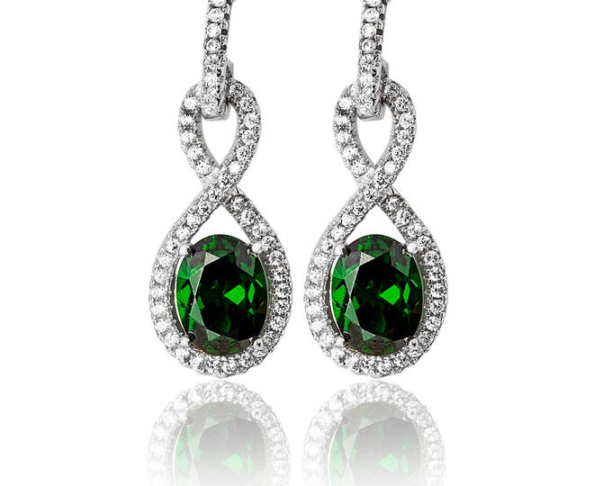 INFINITY Shape CZ & EMERALD Drops  Sterling Silver 925  Fancy Earring Rhodium Plated- Ideal Gift For Her Mom