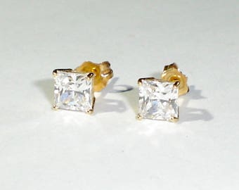 Fine 14K Yellow Gold Post/Stud Earrings w/5 mm Sparkly Square Faceted CZ