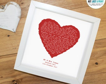 Foo Fighters Everlong Song Lyrics - Vintage Heart Personalised Song Word Print - Ideal Wedding Anniversary Valentines First Dance Gift