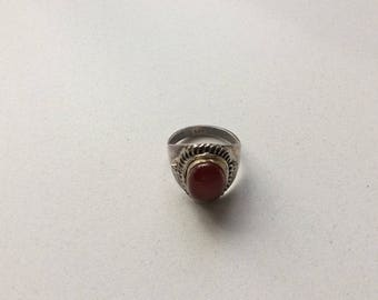Vintage Carnelian agate ring, 925 Silver ring with a red stone