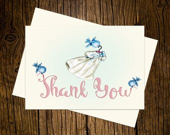 Bluebirds Thank You Note Cards Custom Printed Handmade Stationery Set of 12 baby Shower Blue Pink Vintage Ecru Baby Dress