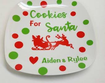 Cookies for santa plate. Personalized santa plate. Personalized cookies for santa. Christmas eve plate. Christmas cookies plate. Santa plate