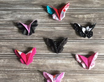 Butterfly origami in fabric, nylon headband, elastic or clip for hair. Choice of colors. Adult baby girl hair.