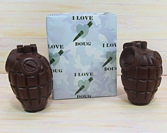 Valentines Chocolate, two solid milk chocolate grenades with Valentine wrapping