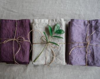 Linen napkins, natural linen napkins, washed linen, softened linen napkins, set of napkins, table napkins