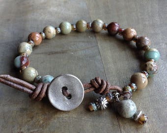Bohemian bracelet boho chic bracelet natural bracelet beaded womens jewelry gift for her boho chic jewelry gemstone jewelry