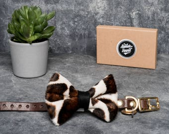 Dog Bowtie - Velboa faux fur - Collar accessories - Handmade animal print bow tie - idea gift for dogs and puppies -giraffe print