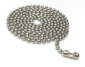 """BARGAIN 10pcs Metal Silver Plated Ball Chain Clasp Necklace 2.4mm 70cm / 27.5"""""""