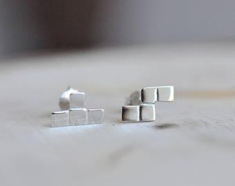 Silver Tetris Block and S-Block Earrings in 100% Sterling Silver 925, Tetris Earrings, Tetrominoes, Tetris Pieces, Nintendo Jewelry, Retro