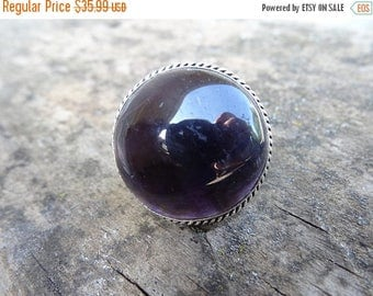 Sale NATURAL Dark Amethyst Stone Purple Sterling Silver Ring Size 8 - Natural Gemstone Ring - Boho Chic Ring Purple stone ring - ring size 8