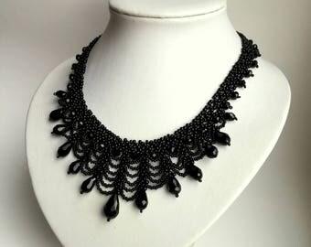Black Beadwork Necklace, Seed Bead Necklace, crystals necklace.