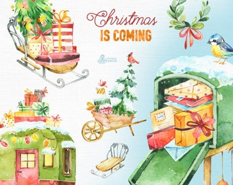 Christmas Is Coming. Watercolor holiday clipart, caravan, winter, red, sleigh, postbox, gifts, Christmas tree, snowman, xmas, merry, cards