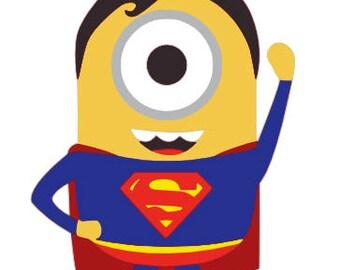Minion Superman SVG,SVG files,Minion svg downloads,minion svg files,Silhouette files