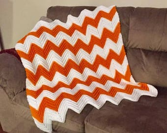 Crocheted Chevron Baby Blanket TN Vols - Texas Longhorns - Oklahoma State orange and white