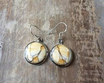 925 Sterling silver Brecciated Mookaite gemstone earrings