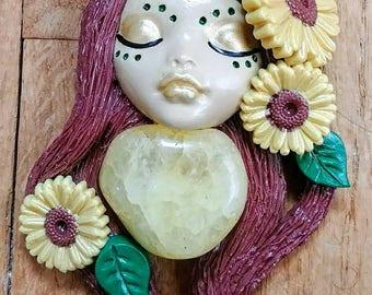 Sunflower Goddess Polymer Clay Pendant Necklace