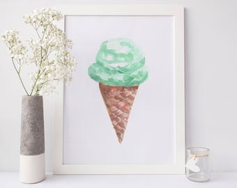 Ice Cream Poster, Mint Ice Cream, Kitchen Poster, Ice Cream Cone Art, Colorful Art Print Kid Print Playroom Decor Poster Wall Decor for Kids