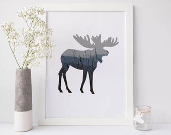 Moose Mountain Photography, Picture Downloads, Moose Art Print, Forest Woodlands Animal Wall Art, Nursery Print Woodland Nursery Moose Decor