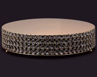 Fast Shipping!! 13 inch Gold Crystal Round Cake Stand, Crystal Cake Stand, Glass Cake Stand, Crystal Cake Pedestal, Gold Cake Stand, Wedding