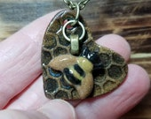 Bee and heart pendant handmade ceramic stoneware