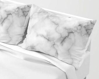 Marble Pillow Sham , White Accent Pillow Sham , Marble Pillow Case , Marble Decor , Marble Home Decor , Marble Cushion , Pillow Sham